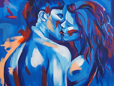 Passion colourful kissing passion couple painting acrylic