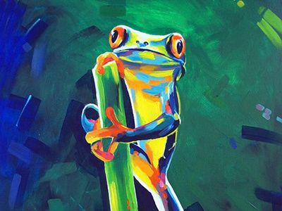 Tree frog green painting acrylic frog