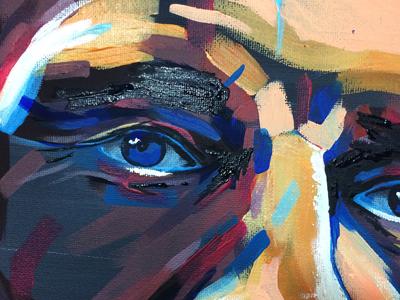 Nicky the Scarecrow eye illustration acrylic painting portrait