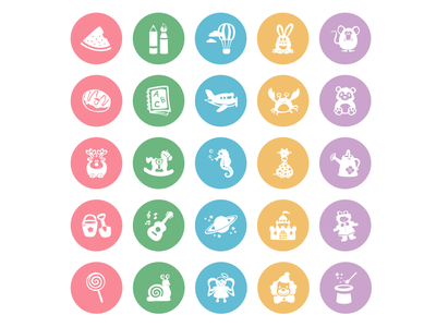 Baby Icons Freebie - Part 4 - Final  simple flat child color baby design illustration icon freebie