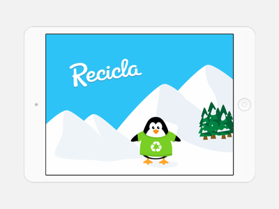 Recicla Game Prototype - Launch Screen  waste ice environment tablet prototype design child recycling app education game