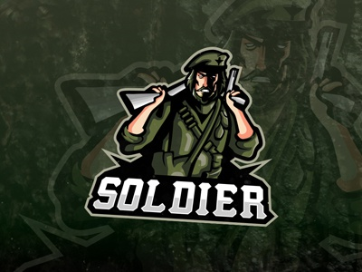 Army Soldier eSports Logo Soldier Mascot Logo army air force wings gamer gaming sports youtube esports mascot soldier