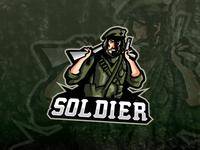 Army Soldier eSports Logo Soldier Mascot Logo