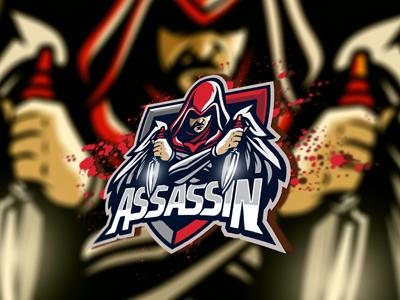 Assassin eSports Logo   Assassin Mascot Logo assassin mascot esports gaming logo ninja sports team sale