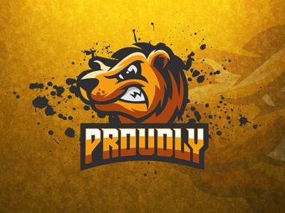 Angry Bear eSports Logo   Bear Mascot Bear Sports Logo bear logo mascot sports esports grizzly animal yellow head hockey power wild