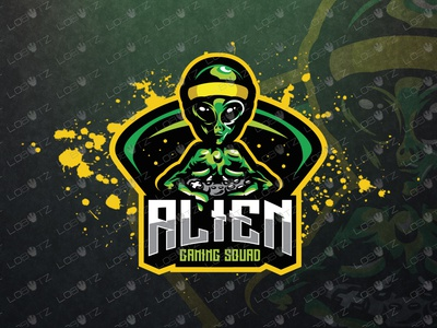 Gamer Alien eSports Logo   Gamer Alien Mascot Logo design readymade premade team clan squad twitch.tv twitch logo logos sale esportslogo esports gaming mascotlogo mascot alien gamer