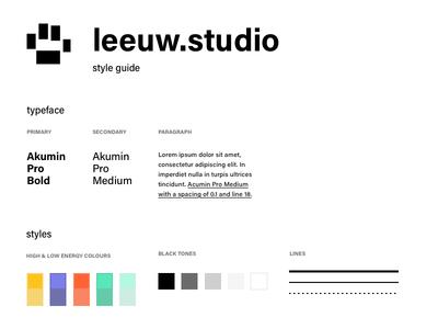 leeuw.studio personal portfolio rebranding colors type fonts logo branding style guide portfolio