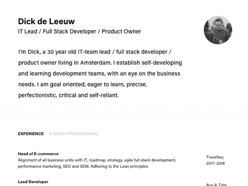 resume update by dick de leeuw