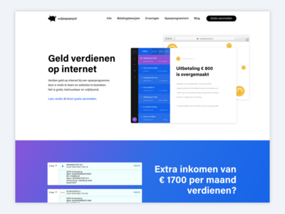 Home page vuljespaarpot.nl design ux ui bootstrap earnings money dutch landing colour white