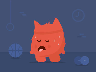 Character illustration for a gym app monster dark cute flat app gym illustration character
