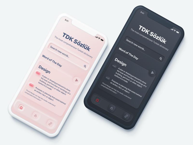 TDK - Dictionary App Concept dark mode mobile home screen home dictionary neomorphism neomorphic iphone concept ui ios design app
