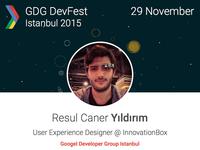 DevFest Istanbul 2015 Speaker Announcement Card
