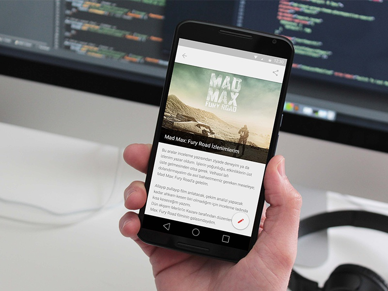 Protechman Mobile App - Free Blog Template (Sketch) news blog detail android material