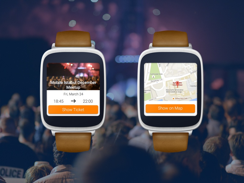 Eventbrite Android Wear Concept Design - Free Sketch Template template free event watch design eventbrite wearables wear android material map