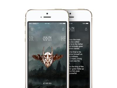Norse Gods swipe myths mythology gods minimal app ios iphone5 mockup iphone norse