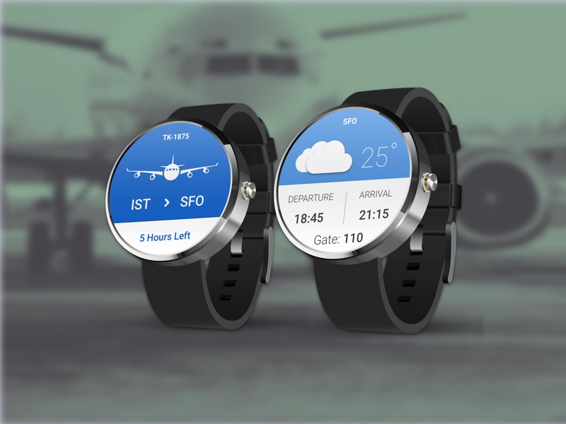 Flighter -  App for Android Wear [ Sketch Template ] moto360 blue sketch template freebie wearable flight android wear