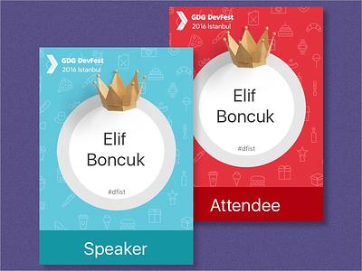 Devfest Istanbul 2016 Badges red blue istanbul gdg deafest printed badge