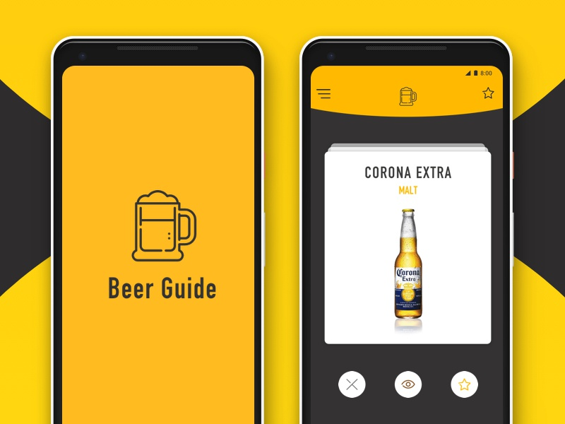 Beer Guide App swipe yellow opensource pixel app beer