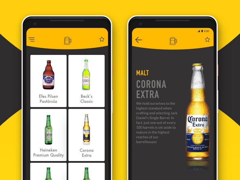 Beer Guide App swipe yellow opensource beer app pixel