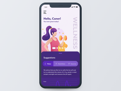 Concept Wellness App | Homepage mobile homepage health wellness iphone apple concept ios app ui design illustration