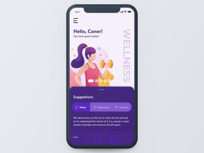 Concept Wellness App | Homepage mobile homepage health wellness iphone apple concept ios app ui design illustration