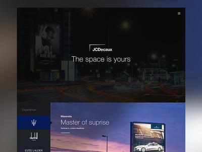 JCDecaux Pitch - E3creative space clean simple site brochure site platform design website mockup presentation pitch jcdecaux