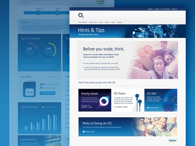 O2 Website gradient blue brand digital web website brochure hints network mobile phone o2