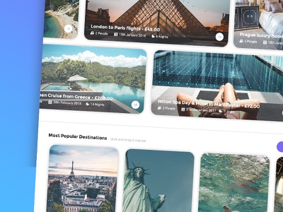 Travel Website destination trip beach city location search holiday vacation grid carousel travel