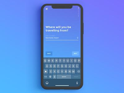 Flights Search Process simple gradient blue journey ux hi ui process search travel trip flights