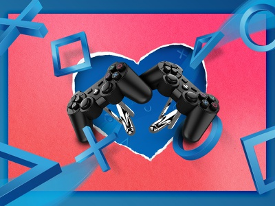 PlayStation Gear Valentines Day Banner gaming ps2 ps3 ps4 shapes controllers marketing promotional banner day valentines playstation