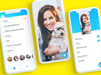 Experimenting with Snapchat UI on iPhone X using Adobe XD message bright stories video snap friends fun app camera snapchat iphone x adobe xd
