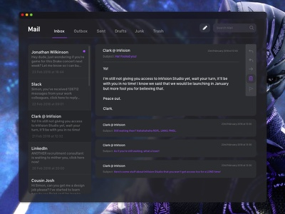Dark Mail App, Black Panther Theme personal template simple clean flat dashboard responsive ios web app purple black panther
