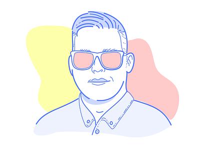 Self Portrait - Graphics for iPad clean outline red sketch line blue colour glasses face selfie portrait self
