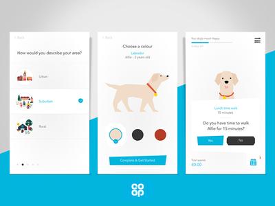 Dog App for the Co-Op labrador blue pet business customisable customise mobile app design mobile app illustration co-op app concept pet app pet design pet care pet dog house dog illustration dog icon dog food app dog
