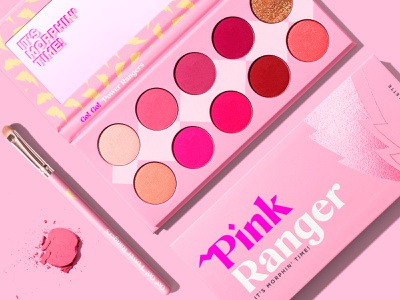 Pink ranger eyeshadows morphing pink cosmetic eyes palettes eyeshadows make up makeup power rangers identity brand