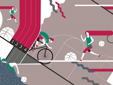Packaging illustration basket cycles bike running sport illustration packaging