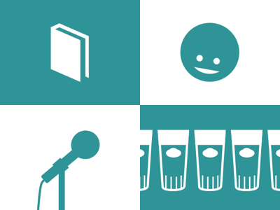 Book. Face. Mic. Beer. icons glyphs minimalist flat college groupt industria