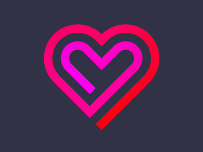 Neon heart neon clean color flat graphic minimal