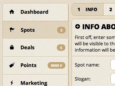 Settings panel for merchants first shot location settings merchant business cms html css web