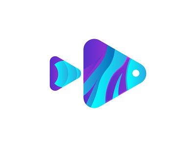 Fish play modern logo design gradient logo play logo fish logo minimal logomark modern logo vector simple symbol illustration design identity logodesign icon animal brand logo branding app logo