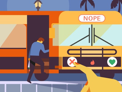 """No car? Not interested"" for LA times bus tinder editorial illustration digital art design ai vector illustrator illustration"