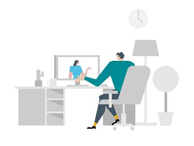 Virtual Meeting. ui virtual meeting zoom michael tada charles schwabs editorial illustration digital art design ai vector illustrator illustration