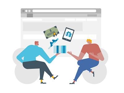 Online Rewards michael tada charles schwabs ui editorial illustration digital art ai design vector illustrator illustration