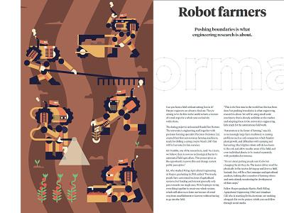 Robot Farmers - Editorial piece farmers robot michael tada editorial illustration design vector illustrator illustration digital art ai