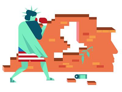 Make America Great Again feminism boxing usa joe biden donald trump graffiti stayhome wall statue of liberty ui michael tada editorial illustration design vector illustrator illustration digital art ai