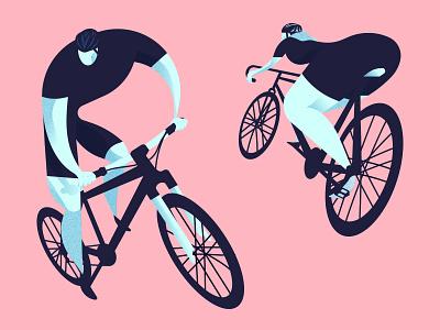 Cycle roadbike mountainbike bike cyclist woman man helmet cycle animation ui michael tada editorial illustration design vector illustrator illustration digital art ai
