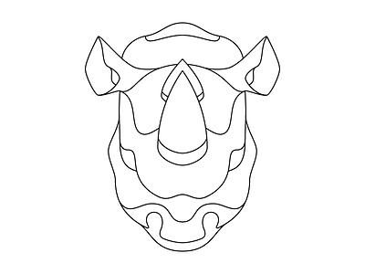Rhinoceros Outline rhino outline wildlife pachyderm illustration rhinoceros