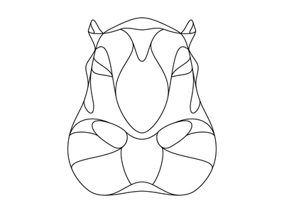Hippopotamus Outline outline wildlife pachyderm illustration hippo hippopotamus