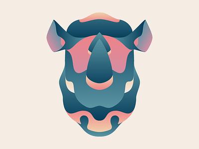 Rhinoceros rhinoceros rhino artwork colours wildlife pachyderm illustration