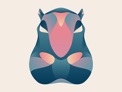 Hippopotamus colours pachyderm illustration artwork wildlife hippo hippopotamus